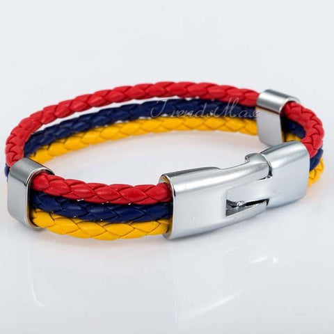 Venezuelan Flag Leather Bracelet [one size] - Nation Love