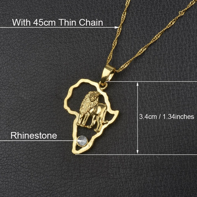 Africa Map Pendant Necklace