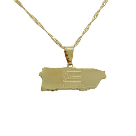 Puerto Rico Gold Map Outline Pendant Necklace - Nation Love