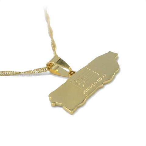 Puerto Rico Gold Map Outline Pendant Necklace