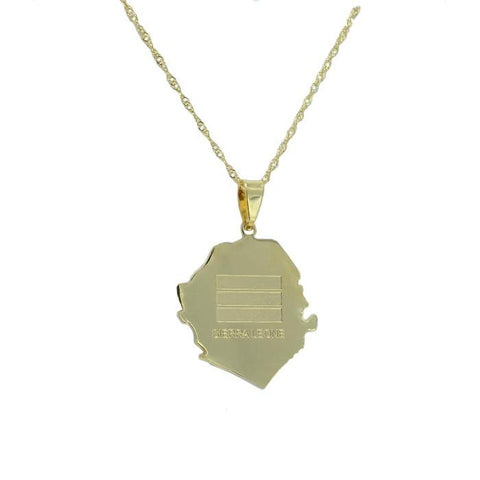 Sierra Leone Gold Map Outline Pendant Necklace - Nation Love