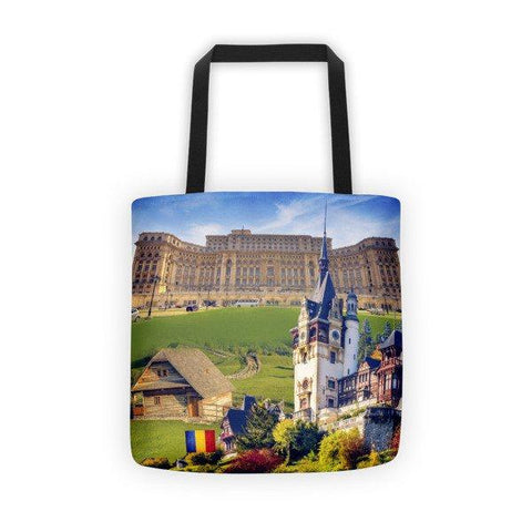 Romanian Landmarks Printed Tote Bag - Nation Love