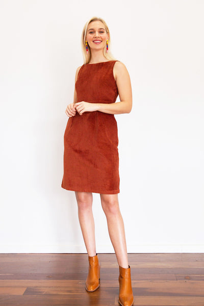 Corduroy Sleeveless Pocket Dress