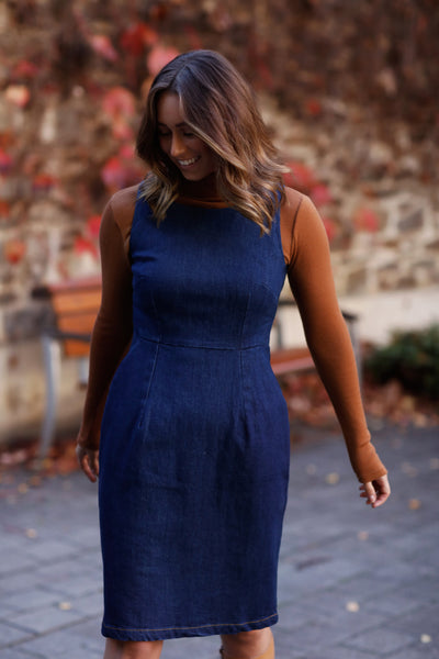 Denim Sleeveless Pocket Dress