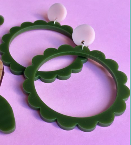 Scallop Hoop Earrings - Olive and Pink