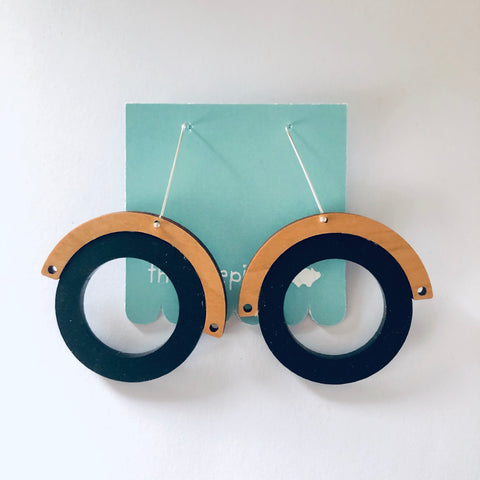 Double Hoop Earrings - Black & Cherrywood