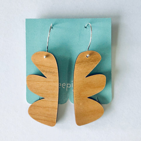 Scallop Drop Earrings Cherrywood