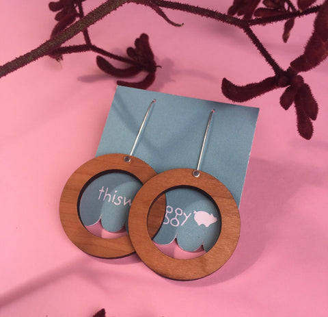 Hoop Drop Earrings Cherrywood