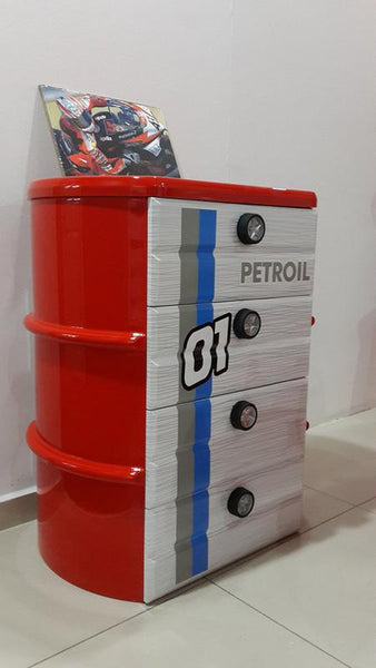 Oil Barrel Chest Of Drawers-RED
