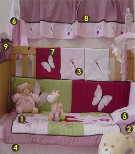 Butterfly 9 Piece Cot Linen Set