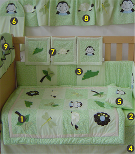 Happy Monkey 9 Piece Cot Linen Set