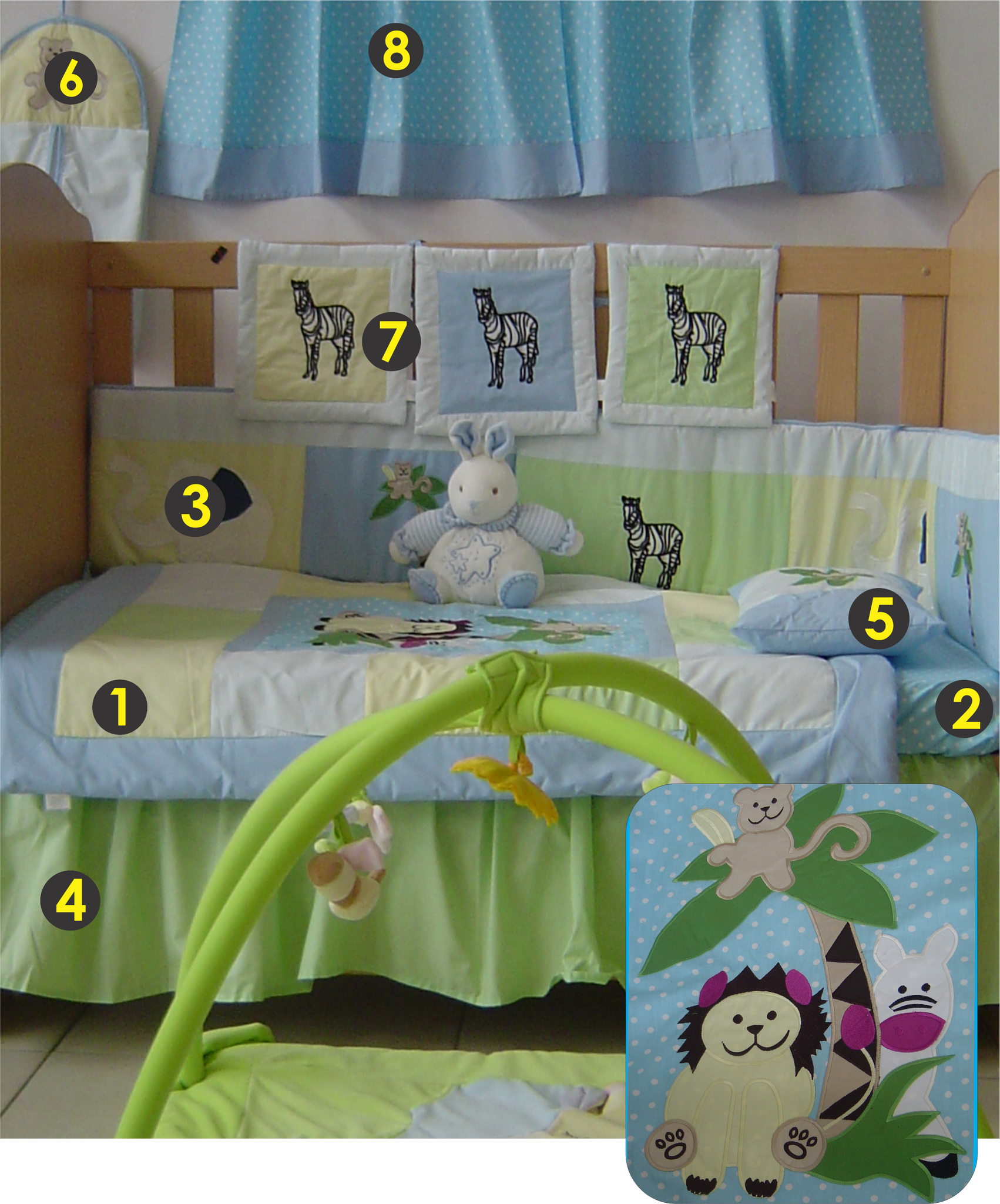 Animal 9 Piece Cot Linen Set