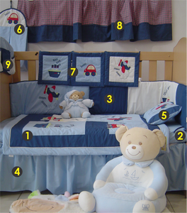 Transport 9 Piece Cot Linen Set