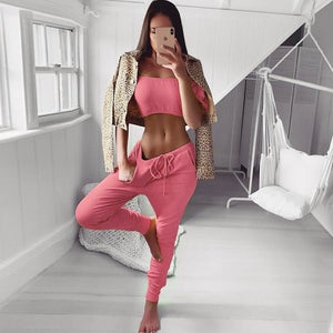 Women Off Shoulder 2 Pieces Outfits Tracksuit Strapless Crop Tops Sweatpants Set