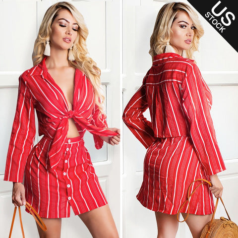 Women 2 Piece Outfit Dress Set Stripe Open Front Crop Top Button Down Mini Skirt