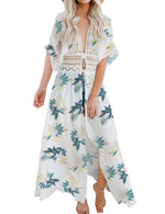 Load image into Gallery viewer, FANCYINN Womens Long Lace Cover up Sheer Bikini Coverups Kimono Tie Front Bathing Suit Swimsuit Beachwear