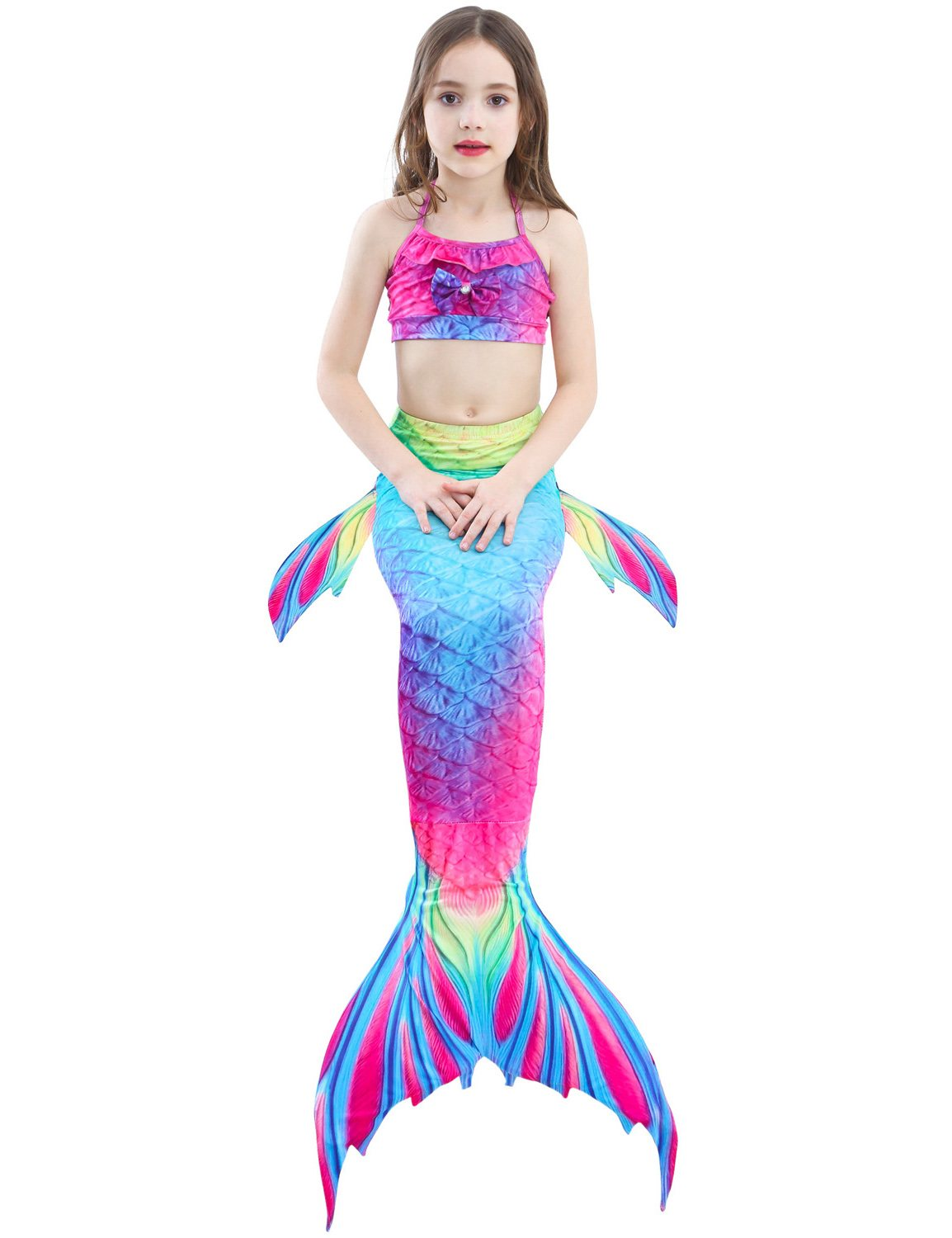 Swimmable Mermaid tails 3Pcs monofin Bikini Girls kids Cosplay Gift Swimwear