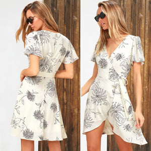 Women's Deep V Neck Short Sleeve Floral Prints Crossover Belted Midi Wrap Dress