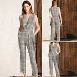 Load image into Gallery viewer, Women's Cross V Neck Sleeveless Plaid Wrap Long Jumpsuit Rompers With Pockets