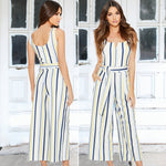 Load image into Gallery viewer, Women Multi Stripe Jumpsuit Belted High Waist Jumpsuits Wide Leg Romper Overalls