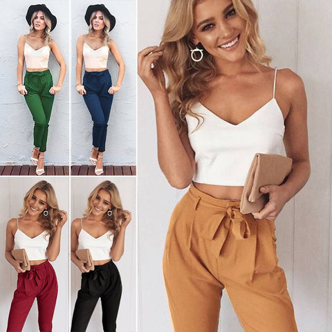 Women 2Pcs Set Skinny Crop Top Slim Trousers Sleeveless Jumpsuit Mini Playsuit