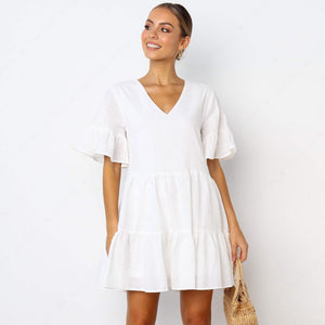 FANCYINN Women's Cute Shift Dress with Pockets Bell Sleeve Ruffle Hem V Neck Loose Swing Tunic Mini Dress