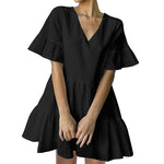 Load image into Gallery viewer, FANCYINN Women's Cute Shift Dress with Pockets Bell Sleeve Ruffle Hem V Neck Loose Swing Tunic Mini Dress