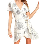 Load image into Gallery viewer, Women's Deep V Neck Short Sleeve Floral Prints Crossover Belted Midi Wrap Dress