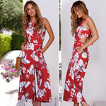 Load image into Gallery viewer, Womens Floral Prints Bow Tie Back Sleeveless High Waist Jumpsuit Romper Wide Leg