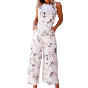 Womens Floral Prints Bow Tie Back Sleeveless High Waist Jumpsuit Romper Wide Leg