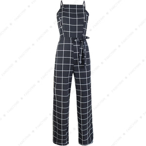 Sexy Women's Spaghetti Strap Plaid Backless Wide Leg Jumpsuit Overalls with Belt