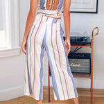 Load image into Gallery viewer, Women 2 Piece Striped Outfits Tie Back Crop Cami Top Wide Leg Pants 2 Pcs Set