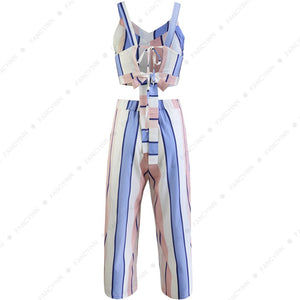 Women 2 Piece Striped Outfits Tie Back Crop Cami Top Wide Leg Pants 2 Pcs Set
