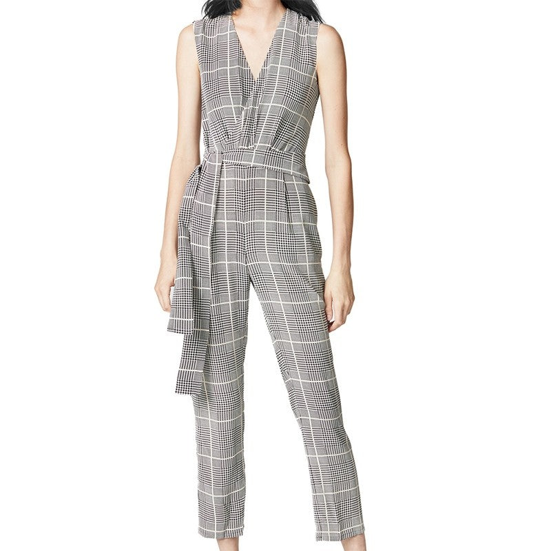 Women's Cross V Neck Sleeveless Plaid Wrap Long Jumpsuit Rompers With Pockets