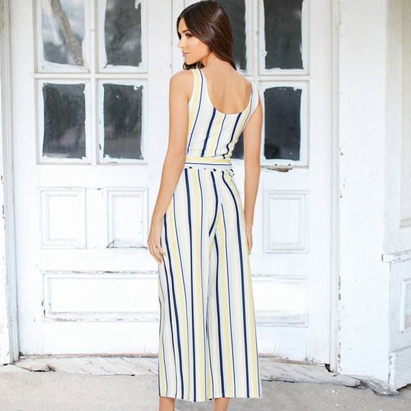 Women Multi Stripe Jumpsuit Belted High Waist Jumpsuits Wide Leg Romper Overalls
