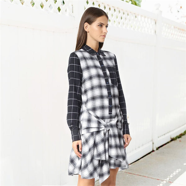 Women Classic Plaid Shirt Dress Long Sleeve Button Down Checkered Dresses Pocket