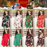 Load image into Gallery viewer, Women Girl Half Sleeve Christmas Santa Claus Prints Backless Flared A Line Dress