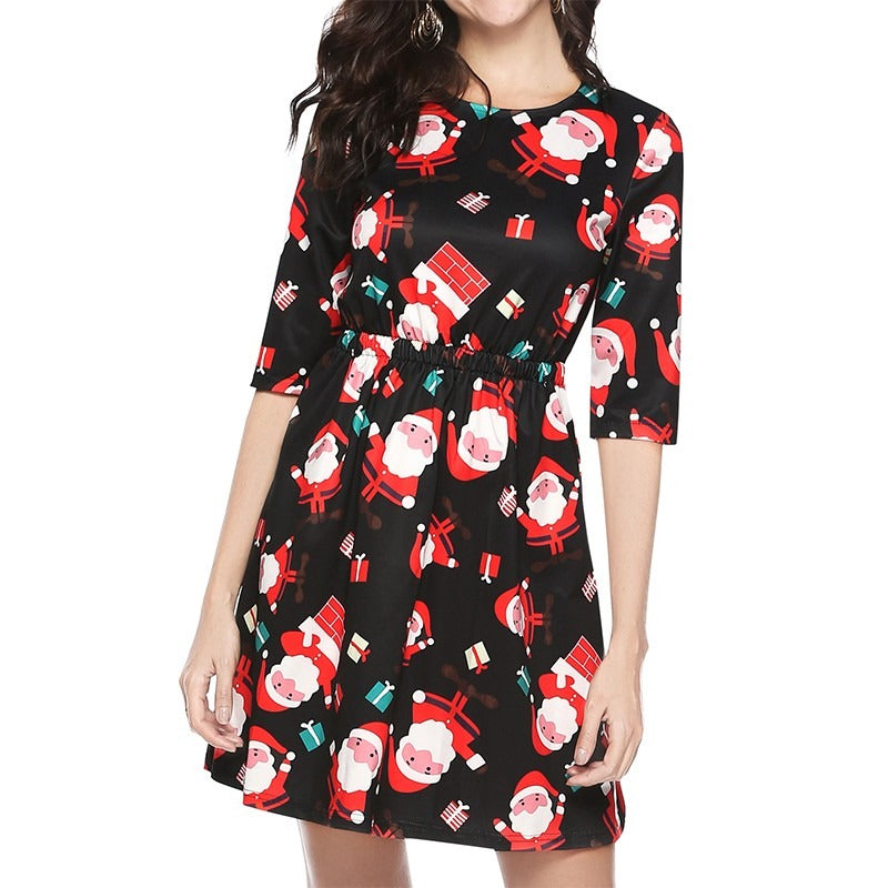 Women Girl Half Sleeve Christmas Santa Claus Prints Backless Flared A Line Dress