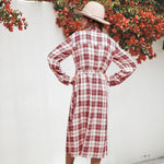 Load image into Gallery viewer, Women Plaid Checkered Roll Up Long Sleeve Tops Casual Midi Shirt Dress with Belt