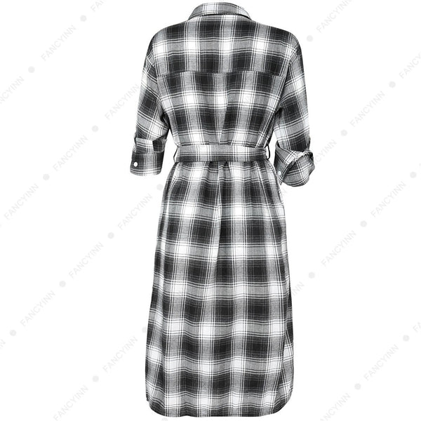 Women Plaid Checkered Roll Up Long Sleeve Tops Casual Midi Shirt Dress with Belt