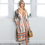 Load image into Gallery viewer, Womens Button Down Roll up Sleeve Stripes Patchwork Split Midi Dress with Pocket