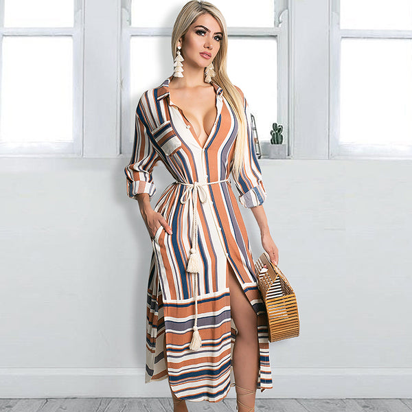 Womens Button Down Roll up Sleeve Stripes Patchwork Split Midi Dress with Pocket