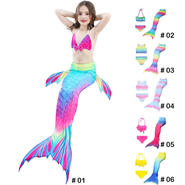 Kids Girls 3Pcs Mermaid Tail Swimming Bikini Set Swimwear Sparkle Swimmable