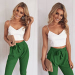 Load image into Gallery viewer, Women 2Pcs Set Skinny Crop Top Slim Trousers Sleeveless Jumpsuit Mini Playsuit