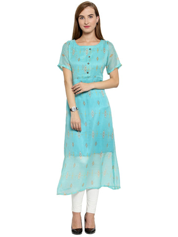Enchanted Drapes Women's Sea Green Shiffon Printed Kurti