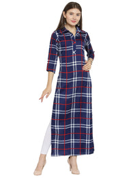 Enchanted Drapes Blue Red Check Women's Crepe Kurti