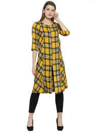 Enchanted Drapes Yellow Cheque Women's Crepe Kurti
