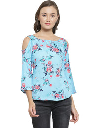 Enchanted Drapes Women's Blue Floral Crepe Top