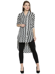 Enchanted Drapes Black Zig Zag Women's Crepe Kurti