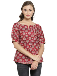 Enchanted Drapes Women's Maroon Block Printed Cotton Top